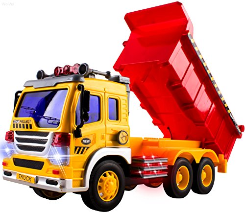 (WolVol Friction Powered Dump Truck Toy with Lights and Sounds for Kids, Can Lift Up The Bucket)