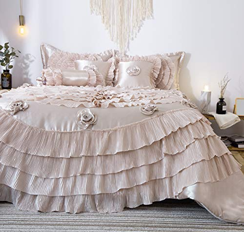(Tache 6 Piece Elegant Fancy Victorian Frosted Fields Faux Satin Luxury Ruffled Comforter Bedding Set, Califorina King)