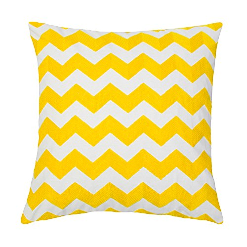 SLOW COW Cotton Linen Stripe Patterned Embroidery Decorative Throw Pillow Cover for Sofa, 18x18 Inch, Yellow.