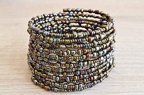 Handmade African Bracelet - Beaded Wrap Bracelet - Kenya Maasai Jewelry - Metallic, Different shades of Bronze, Berry Blue, Eggplant Purple - Small/Medium Size, ()
