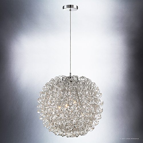 Luxury Modern Chandelier, Large Size: 23.5''H x 23.5''W, with Eclectic Style Elements, Polished Chrome Finish and Crinkled Metal Ribbon Shade, Includes G9 Xenon Bulbs, UQL2611 by Urban Ambiance by Urban Ambiance (Image #3)