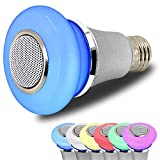 AmeriLuck Bluetooth Speaker LED Music Light Bulb, App Remote Control, Stereo Speaker Clear and Loud – RGB Colors Sync with Music – Perfect Party Bulb, Shower Speaker&Ambience Night Light (5W Version) For Sale