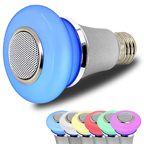 AmeriLuck Bluetooth Speaker LED Music Light Bulb, App Remote Control, Stereo Speaker Clear and Loud - RGB Colors Sync with Music - Perfect Party Bulb, Shower Speaker&Ambience Night Light (5W Version)