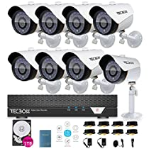 TECBOX AHD DVR 8 Channel Security Camera System with 8 HD 720P Outdoor CCTV Cameras Remote View Motion Detection 1TB Hard Drive Installed