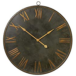 CBK Metal Distressed Black with Gold Roman Numeral Wall Clock 148821