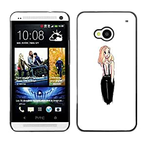 Planetar® ( Fashion Design Blonde Chick White Woman ) HTC One M7 Fundas Cover Cubre Hard Case Cover