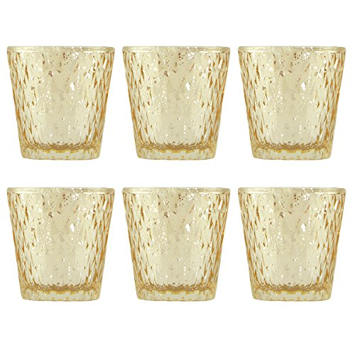 Set of Six Gold Mercury Glass Votive Candle Holders
