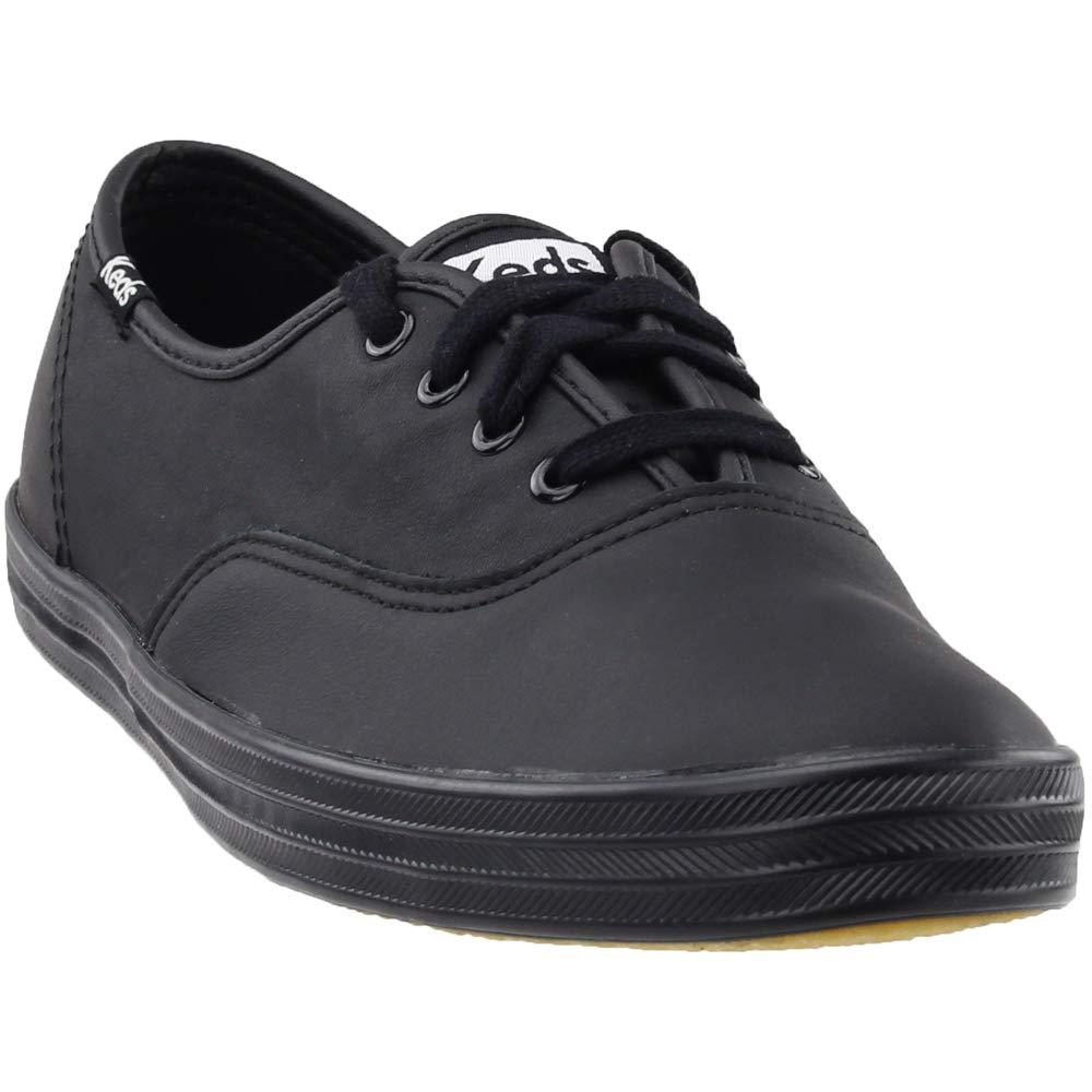 Keds Women's Champion Black/Black Leather Shoes Wide Width women's 12