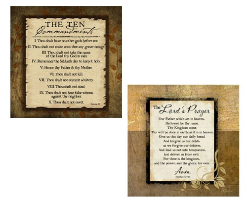 The Lord's Prayer and The Ten Commandments by Pugh Religious 2 Print Set Poster