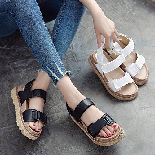 Sandalias para de jóvenes SOHOEOS tamaño Velcro Damas Señoras nuevo Negro plataforma Mujer estudiantes grande de plana Verano Casual dw774q
