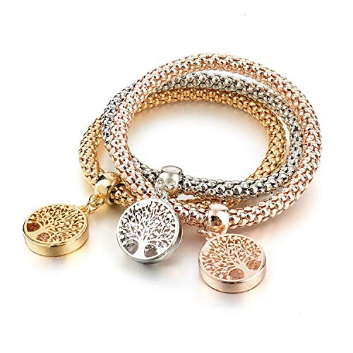 Vintage Designer Austrian Rhinestones Gold Color Tree of Life Charm Bracelets Popcorn Chain Jewelry for Women SBR160104,treeoflife (Wholesale Rhinestone Bracelets)