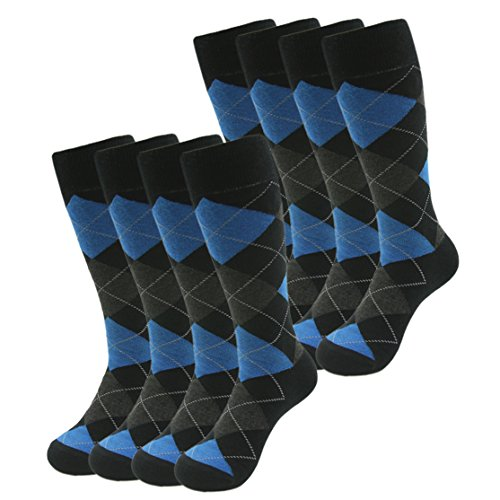 SUTTOS Men's Comfortable Blue Black Argyle Jacquard Diamond Fashion Design Charged Cotton Flat Knit Mid Calf Long Tube Casual Fun Dress Socks for Wedding Gifts,8 Pairs