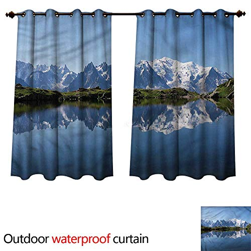 - cobeDecor Lake Outdoor Curtains for Patio Sheer Mont Blanc Alps France W72 x L72(183cm x 183cm)