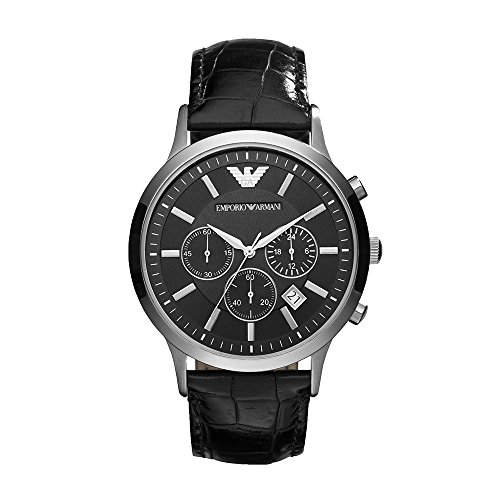 (Emporio Armani Men's AR2447 Dress Black Leather Watch)