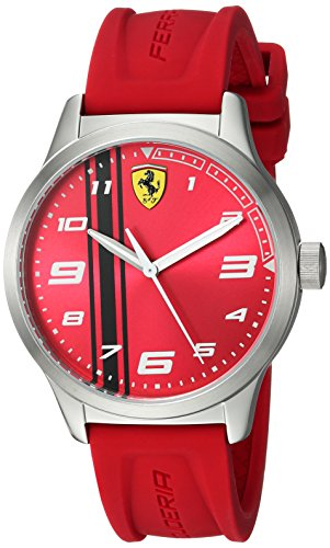 Ferrari Boy's Pitlane Quartz Stainless Steel and Silicone Strap Casual Watch, Color: Red (Model: 810014)