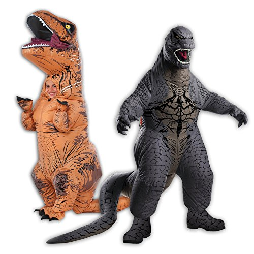 Inflatable Child T-Rex and Child Godzilla Costume Bundle