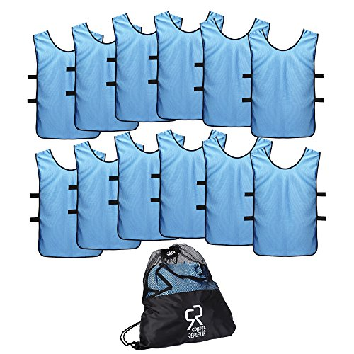 SportsRepublik Pinnies Scrimmage Vests for Kids, Youth and Adults (12-Pack) - Soccer Pennies -