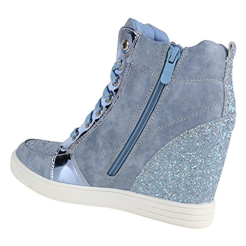 Stiefelparadies Damen Sneaker Wedges mit Keilabsatz Flandell Hellblau Lack Glitzer