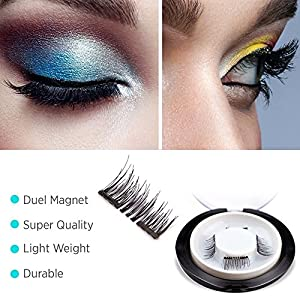 New Double Magnetic False Eyelashes - Ultra Thin 3D Fiber Reusable Best Fake Lashes Extension for Natural, Perfect for Deep Set Eyes & Round Eyes 1 Pairs (4 Pieces) (4 pcs)