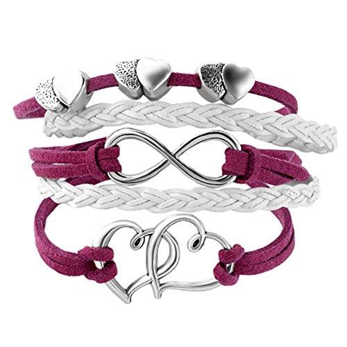 DemiJewelry Leather Wrap Infinity Bracelet Heart with Hearts Rope Wristband Bracelets (Bracelet Leather Girl Bracelet)