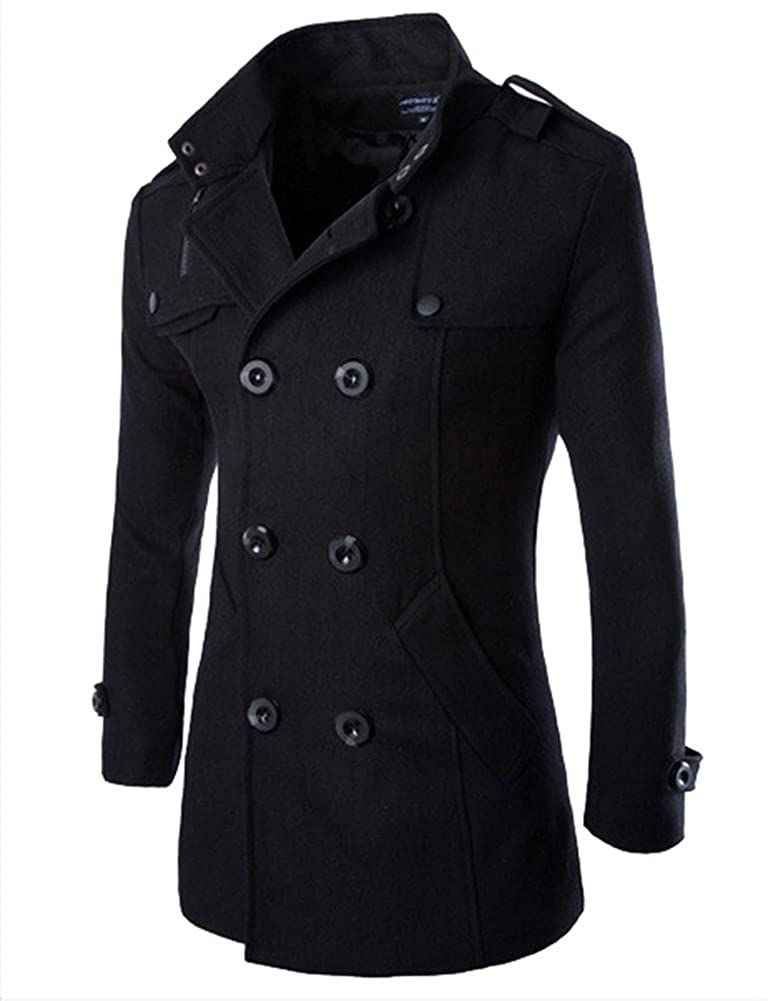 XIANIWTA Men's Pea Coat Stand Collar Windproof Jacket Overcoat