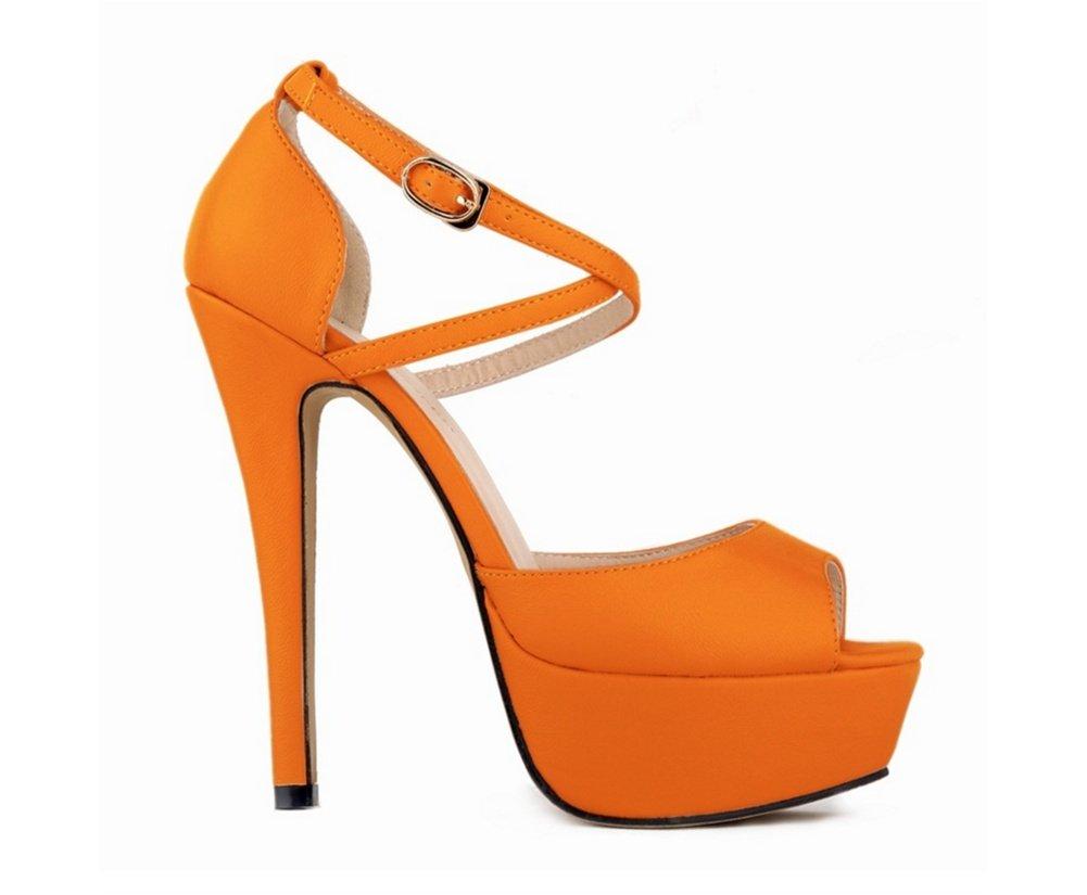 36-Orange OOFAY Chaussures à Talons Hauts Eté Grande Cour Plateforme imperméable à Talons Night Club Poisson Bouche Sandales Femme 35-41