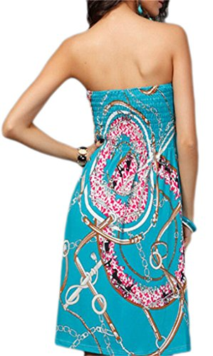 Boho Green Dress Strapless Stylish Printed Shoulder Domple Off Midi Floral Women's xSn7qgv
