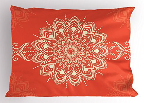 Ambesonne Henna Pillow Sham, Ancient Kaleidoscopic Round Mandala Arabic Design Yoga Meditation Cosmos Symbol, Decorative Standard Queen Size Printed Pillowcase, 30 X 20 inches, Orange Ivory by Ambesonne