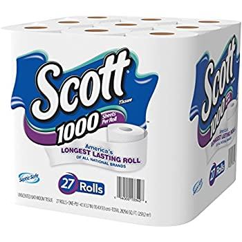 Scott 1000 Sheets Per Roll Toilet Paper, 27 Rolls, Sewer-Safe, Septic-Safe, 1-Ply Bath Tissue, America's Longest Lasting Roll