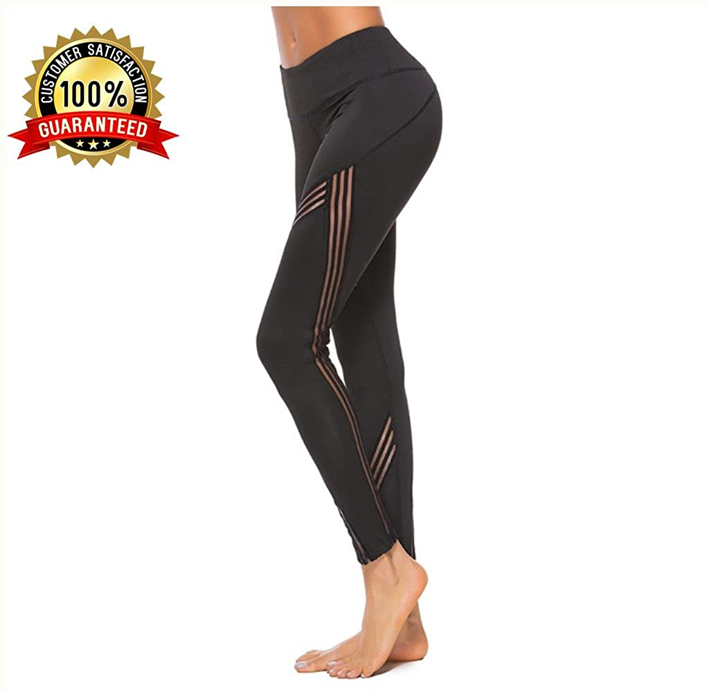 a26b05775 Yoga Leggings,High Waisted Black High Waist with Pockets Plus Size Petite  Mesh Workout Fold Over Athleta Fitness Ladies Womans Gym Compression  Exercise ...