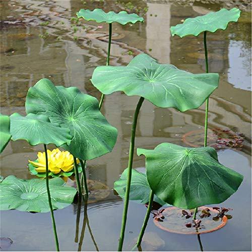 Artificial Plants - 1 Pc Artificial Lotus Leaf With Long Stem Floating Pool Decorative Aquarium Fish Pond Scenery Home - Pond Flowers Sprays Vase Large Lotus Floating Flower Leaves Plant