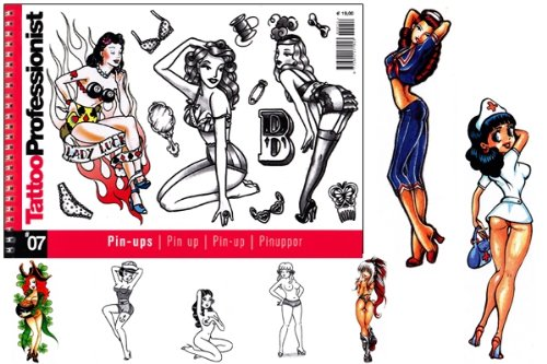 Tattoo Professionist #7 Pin-ups Tattoos 82-Page Flash Book by WorldWide Tattoo Supply (Image #1)