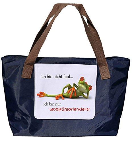 Shopper /Schultertasche / Einkaufstasche / Tragetasche / Umhängetasche aus Nylon in Navyblau - Größe 43x33cm - Motiv: 3D Frosch liegt entpannt auf der Seite mit Spruch - 01