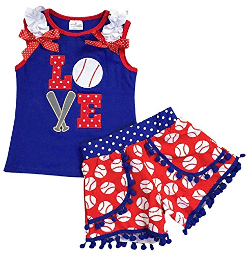 Little Girl Kids 2 Pieces Baseball T-Shirt Top Short Summer Pants Set Royal 6 XL 500698 ()