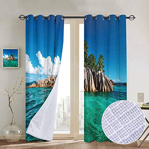 NUOMANAN Blackout Curtain Panels Window Draperies Island,St. Pierre Island at Seychelles Natural Granite Relaxation Mediterranean,Jade Green Blue Tan,for Bedroom, Kitchen, Living Room 52