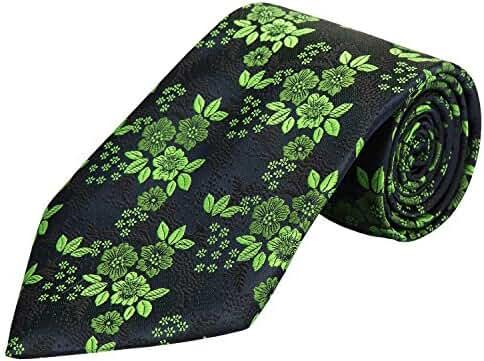 PilotMan Men's Tie Floral Jacquard Silk Tie Florets Necktie With Gift Box