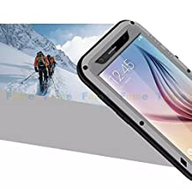 FOME Samsung Galaxy S6 Case, Extreme Hard Military Heavy Aluminum Metal Armor Tank Gorilla Glass Shockproof Rainproof Water Resistant Weatherproof Dust/Dirt/Snow Proof Anti-smudge Resistant Acoustic Port Protection Cover Case For Samsung Galaxy S6 (Silver) + FOME Gift