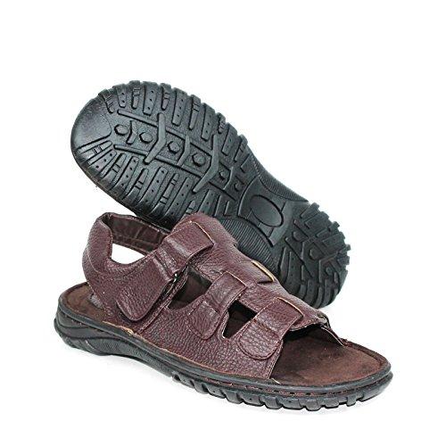 Labo Mens Sandali In Vera Pelle Scarpe Ultra Comfort Soft Wide Brown4