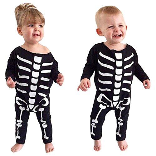 FTXJ Baby Boys Girls Jumpsuit Novelty Bone Print Romper Halloween Clothes (24M, Black) (Boys Halloween Clothes)