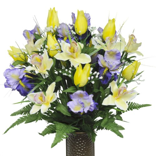 Yellow Tulips and Purple Iris with Stay-In-The-Vase ® Design Cemetery Flowers (MD1233)