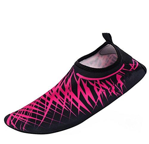 Himal Wasserschuhe Für Frauen Männer Wasser Socken Wasserdichte Aqua Socken Schwimmen Schuhe Für Beach Volleyball Sport Übung Schuhe Aktive Schuhe Erwachsene A2 Pink-schwarz-Streifen