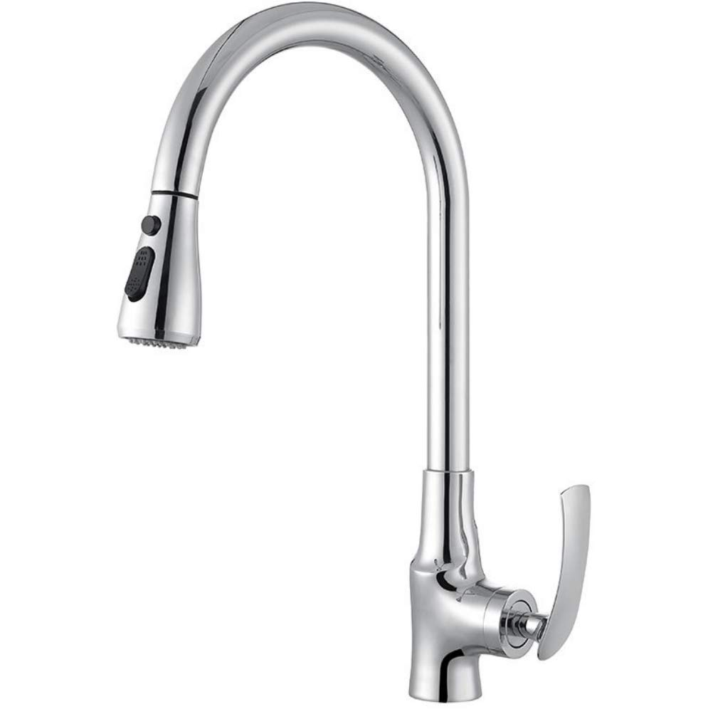 Chrome GROHES Kitchen Faucets Silver Single Handle Pull Out Kitchen Tap Single Hole Handle Swivel 360 Degree Water Mixer Tap Mixer Tap,Chrome