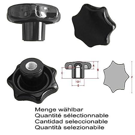 Menge:10 ST/ÜCK Stahlgewinde Sterngriffmutter MENGE w/ählbar DIN6336 K M8 /Ø50 mm