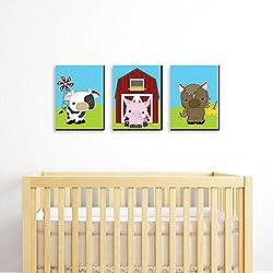 "Farm Animals - Barnyard Nursery Wall Art & Kids Room Decor - 7.5"" x 10"" - Set of 3 Prints"