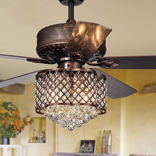- 52Inch Antique Crystal Ceiling Fan LED Light Unique Love Shape Lampshade 5 Reverse Wood Blades 3 Speed Remote Control Ceiling Fan Decorates Home