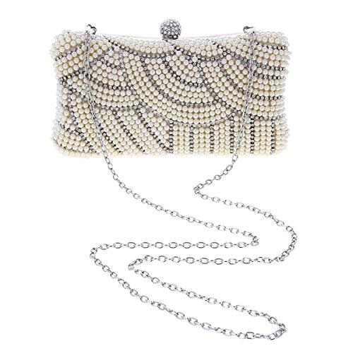 White Bride Beads Clutch Rhinestones Damara Gorgeous Womens Wedding HxwHC0q