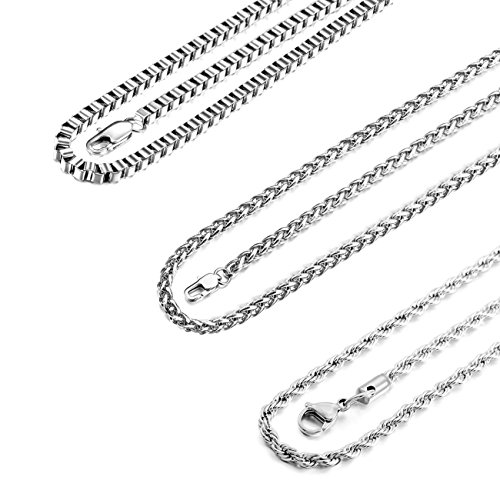 MOWOM 4.0mm Wide 3PCS Silver Tone Stainless Steel Necklace Twisted Curb Box Chain Link 18 ()