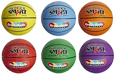 School Smart Gradeballs Rubber Basketballs - Junior Size - Set of 6 - Assorted Colors