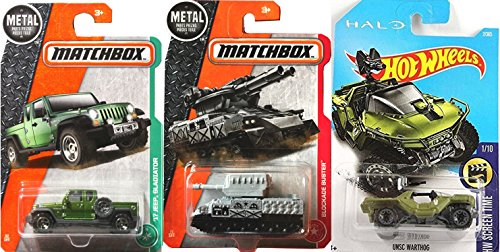 Price comparison product image Tank Hot Wheels & Matchbox Military 3-Pack UNSC Halo Warthog 2 Jeep + MP Military '17 Jeep Gladiator Hanger MBX 92 + Blockade Buster Tank 71 Gray Turret in PROTECTIVE CASES