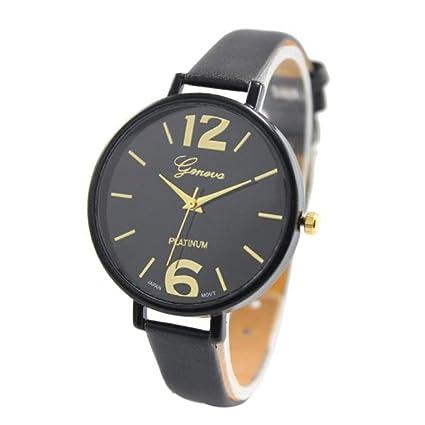 Xinantime Relojes Pulsera Mujer,Xinan Ginebra Imitación Cuero de Cuarzo Analógico Relojes (Negro)